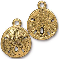 Sand Dollar Charm, Antiqued Gold Plate, 20 per Pack