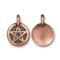 Pentagram Charm, Antiqued Copper Plate, 20 per Pack