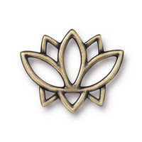 Open Lotus Link, Oxidized Brass Plate, 20 per Pack