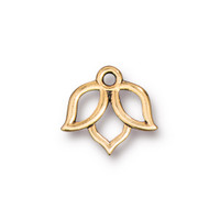 Open Lotus Charm, Antiqued Gold Plate, 20 per Pack