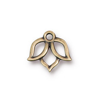 Open Lotus Charm, Oxidized Brass Plate, 20 per Pack
