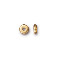 Disk 5mm Spacer Bead, Gold Plate, 250 per Pack