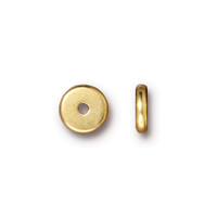 Disk 7mm Spacer Bead, Gold Plate, 100 per Pack