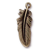 Feather Charm 1.2 inch length, Oxidized Brass Plate, 20 per Pack