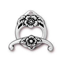 Floral Clasp Set, Antiqued Silver Plate, 10 per Pack