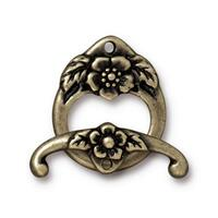 Floral Clasp Set, Oxidized Brass Plate, 10 per Pack