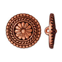 Large Bali Button, Antiqued Copper Plate, 20 per Pack