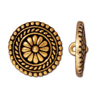 Large Bali Button, Antiqued Gold Plate, 20 per Pack