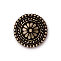 Large Bali Button, Oxidized Brass Plate, 20 per Pack
