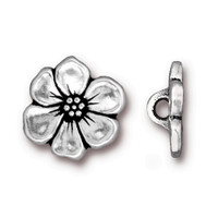 Apple Blossom Button, Antiqued Silver Plate, 20 per Pack