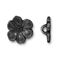 Apple Blossom Button, Black Plate, 20 per Pack