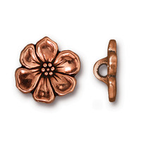 Apple Blossom Button, Antiqued Copper Plate, 20 per Pack