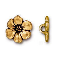Apple Blossom Button, Antiqued Gold Plate, 20 per Pack