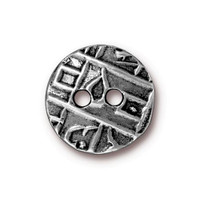 Round Coin Button, Antiqued Pewter, 20 per Pack