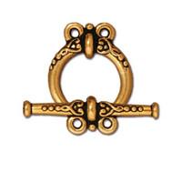 Heirloom 2 Loop Clasp Set, Antiqued Gold Plate, 10 per Pack