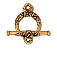 Butterfly Clasp Set, Antiqued Gold Plate, 10 per Pack
