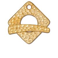Hammertone Square Clasp Set, Gold Plate, 10 per Pack