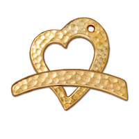 Hammertone Heart Clasp Set, Gold Plate, 10 per Pack