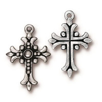 Fleur Cross Charm, Antiqued Silver Plate, 20 per Pack