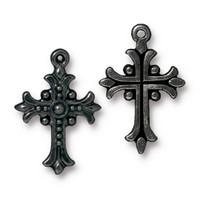Fleur Cross Charm, Black Plate, 20 per Pack