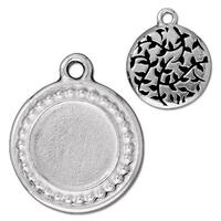 Beaded Round Frame Charm, Antiqued Silver Plate, 10 per Pack