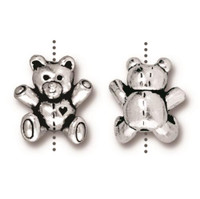 Teddy Bear Bead, Antiqued Silver Plate, 20 per Pack