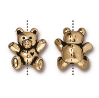 Teddy Bear Bead, Antiqued Gold Plate, 20 per Pack