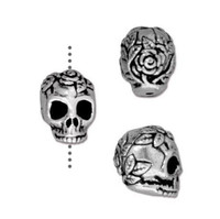 Rose Skull Bead, Antiqued Silver Plate, 20 per Pack