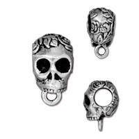 Skull Bail Large Diameter, Antiqued Silver Plate, 20 per Pack