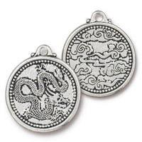 Dragon Coin Pendant, Antiqued Silver Plate, 10 per Pack