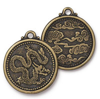 Dragon Coin Pendant, Oxidized Brass Plate, 10 per Pack
