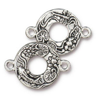 Koi Link, Antiqued Silver Plate, 10 per Pack