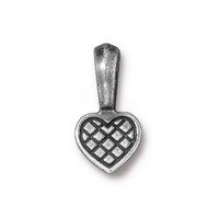 Heart Glue-on Pad, Antiqued Pewter, 20 per Pack