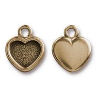 Heart Bezel Drop, Oxidized Brass Plate, 20 per Pack