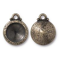 Hammered 12mm Rivoli Bezel Drop, Oxidized Brass Plate, 20 per Pack