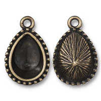 Beaded 14x10mm Pear Bezel Drop, Oxidized Brass Plate, 20 per Pack