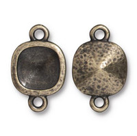 Hammered 10mm Cushion Bezel Link, Oxidized Brass Plate, 20 per Pack