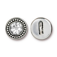Beaded Button Bezel with Swarovski® Crystal, Antiqued Silver Plate, 6 per Pack