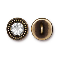 Beaded Button Bezel with Swarovski® Crystal, Oxidized Brass Plate, 6 per Pack