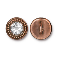Beaded Button Bezel with Swarovski® Crystal, Antiqued Copper Plate, 6 per Pack