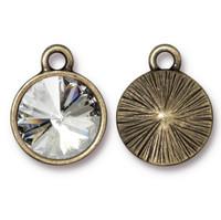 Plain Rivoli Drop with 12mm Swarovski® Crystal, Oxidized Brass Plate, 6 per Pack