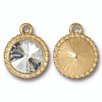 Beaded Rivoli Drop with 12mm Swarovski® Crystal, Gold Plate, 6 per Pack