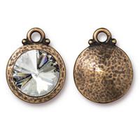 Hammered Rivoli Drop with 12mm Swarovski® Crystal, Oxidized Brass Plate, 6 per Pack