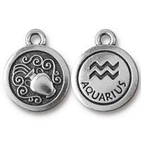 Aquarius Charm, Antiqued Silver Plate, 20 per Pack