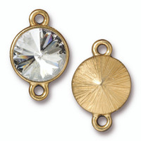 Plain Rivoli Link with 12mm Swarovski® Crystal, Gold Plate, 6 per Pack