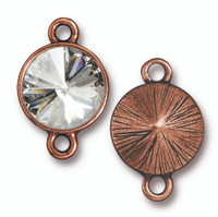 Plain Rivoli Link with 12mm Swarovski® Crystal, Antiqued Copper Plate, 6 per Pack