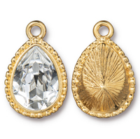 Beaded Pear Drop with 14x10mm Swarovski® Crystal, Gold Plate, 6 per Pack