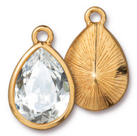 Plain Pear Drop with 18x13mm Swarovski® Crystal, Gold Plate, 6 per Pack