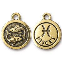 Pisces Charm, Antiqued Gold Plate, 20 per Pack