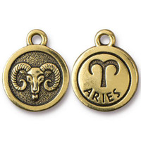 Aries Charm, Antiqued Gold Plate, 20 per Pack
